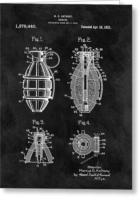 1921 Hand Grenade Patent Illustration Greeting Card by Dan Sproul