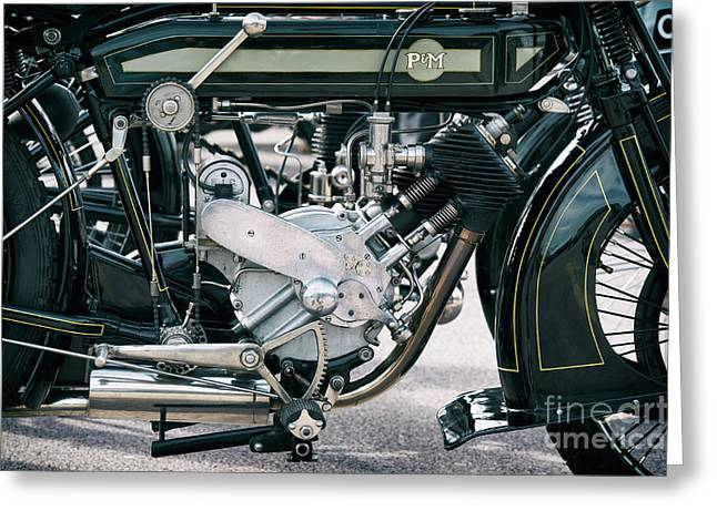 1921 P And M Motorcycle Greeting Card by Tim Gainey