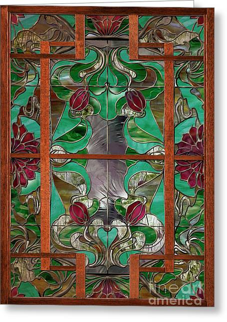 1922 Art Nouveau Stained Glass Panel Greeting Card by Mindy Sommers