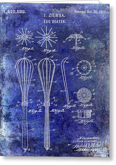 1922 Egg Beater Patent Blue Greeting Card