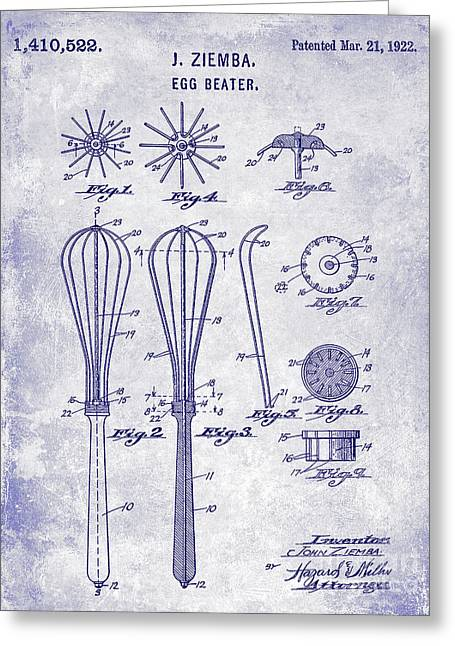 1922 Egg Beater Patent Blueprint  Greeting Card