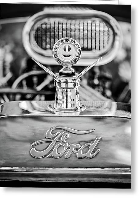 1922 Ford T-bucket Hood Ornament - Emblem -0630bw Greeting Card by Jill Reger