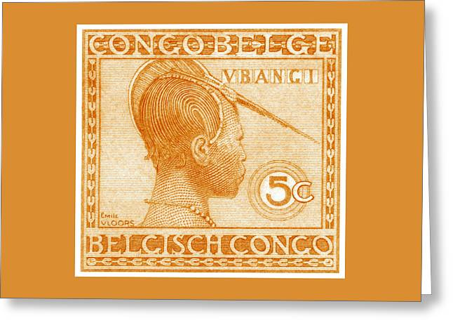 1923 Belgian Congo Ubangi Woman Greeting Card