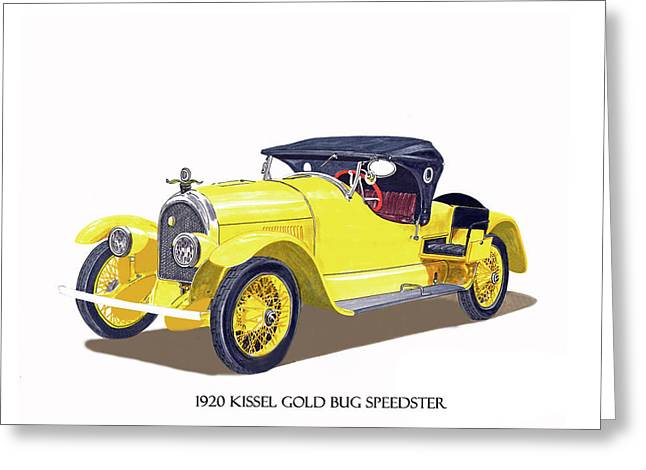 Greeting Card featuring the painting 1923 Kissel Kar  Gold Bug Speedster by Jack Pumphrey