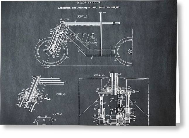 1923 Motorcycle Patent In Chalk Greeting Card by Bill Cannon