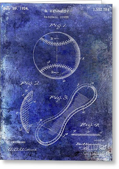 1924 Baseball Patent Blue Greeting Card by Jon Neidert