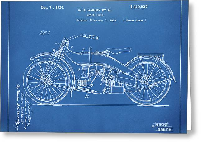 Greeting Card featuring the digital art 1924 Harley Motorcycle Patent Artwork Blueprint by Nikki Marie Smith