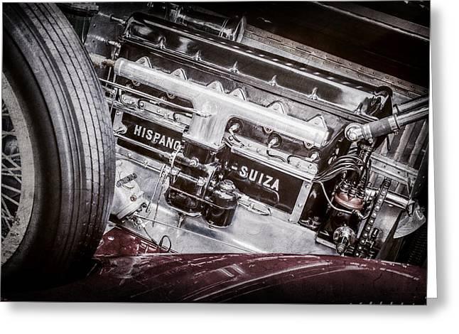 1924 Hispano-suiza H6b Dual  Cowl Sport Phaeton Engine Emblem -0258ac Greeting Card by Jill Reger