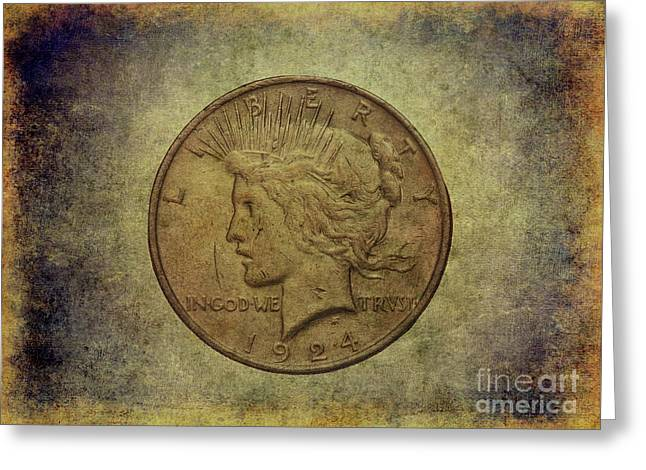 Greeting Card featuring the digital art 1924 Peace Silver Dollar by Randy Steele