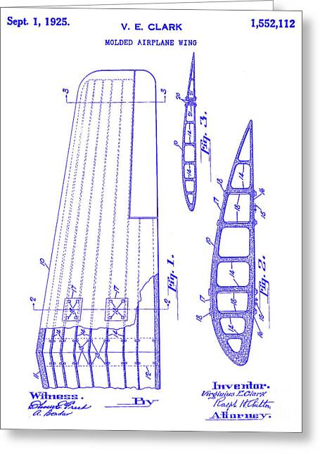 1925 Airplane Wing Patent Blueprint Greeting Card