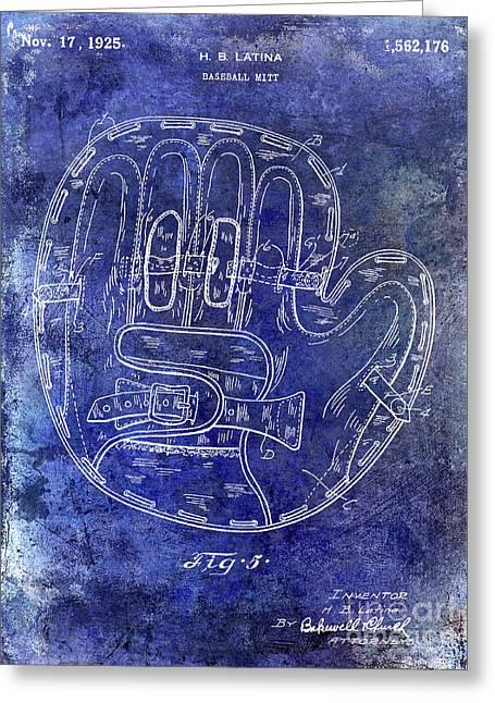 1925 Baseball Glove Patent Blue Greeting Card by Jon Neidert