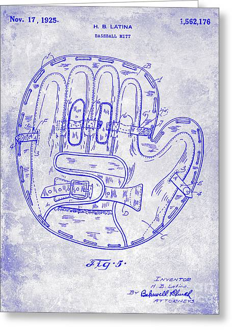 1925 Baseball Glove Patent Blueprint Greeting Card