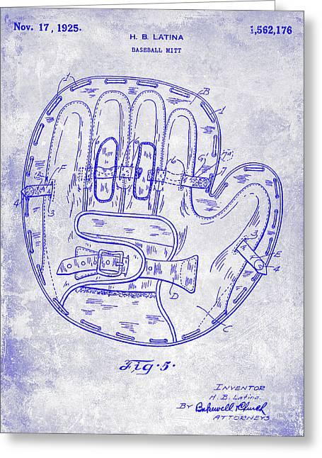 1925 Baseball Glove Patent Blueprint Greeting Card by Jon Neidert