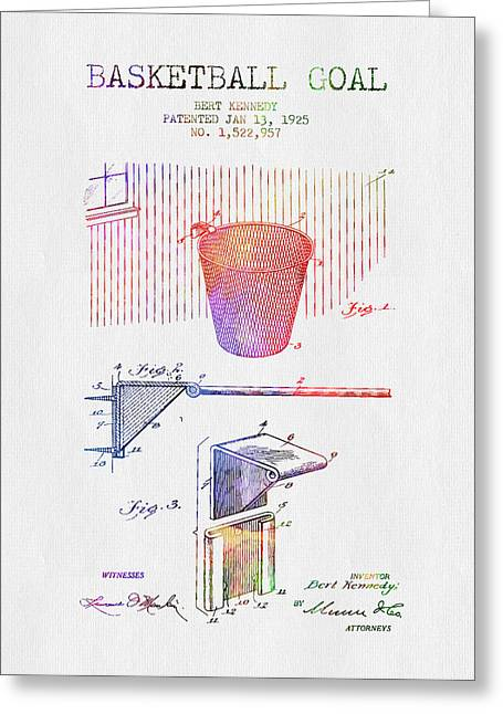 1925 Basketball Goal Patent - Color Greeting Card by Aged Pixel