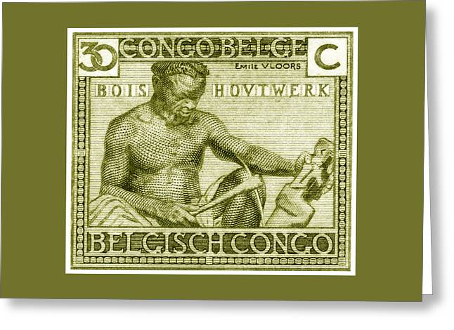 1925 Belgian Congo Native Woodcarving Greeting Card