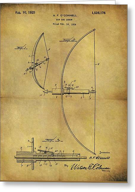 1925 Bow And Arrow Patent Greeting Card