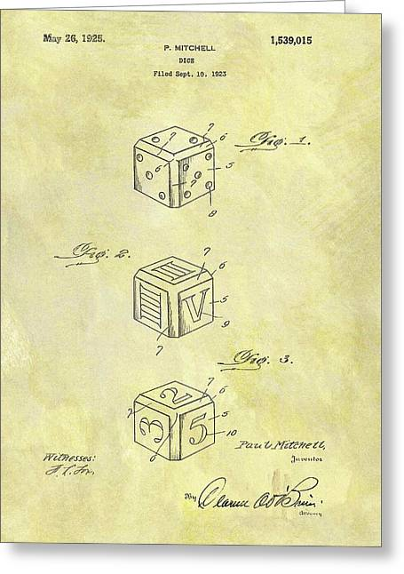 1925 Dice Cube Patent Greeting Card