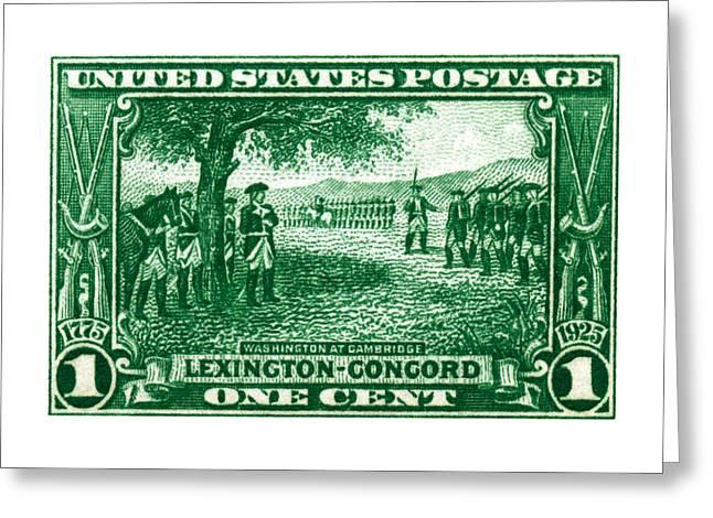 1925 George Washington At Cambridge Stamp Greeting Card by Historic Image