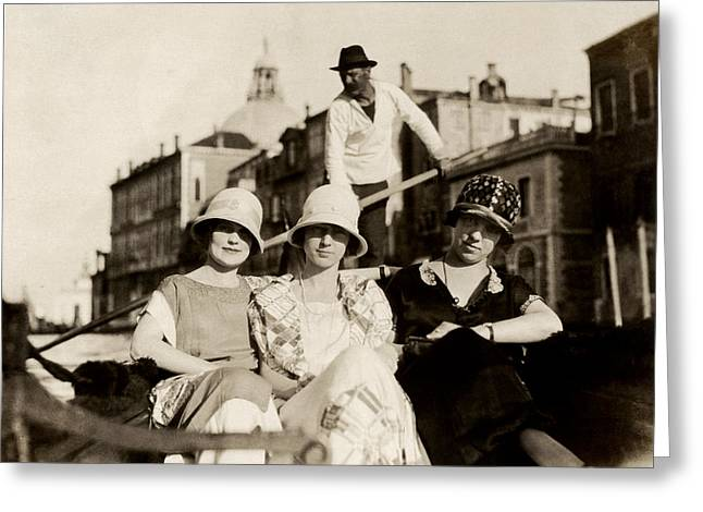 1925 Girlfriends In Venice Italy Greeting Card by Historic Image