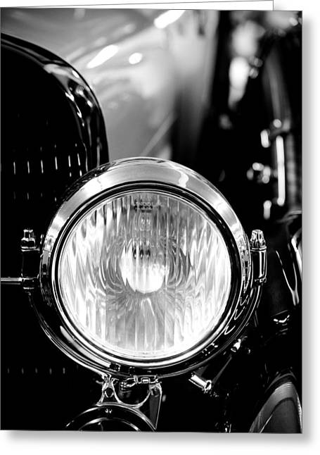 1925 Lincoln Town Car Headlight Greeting Card