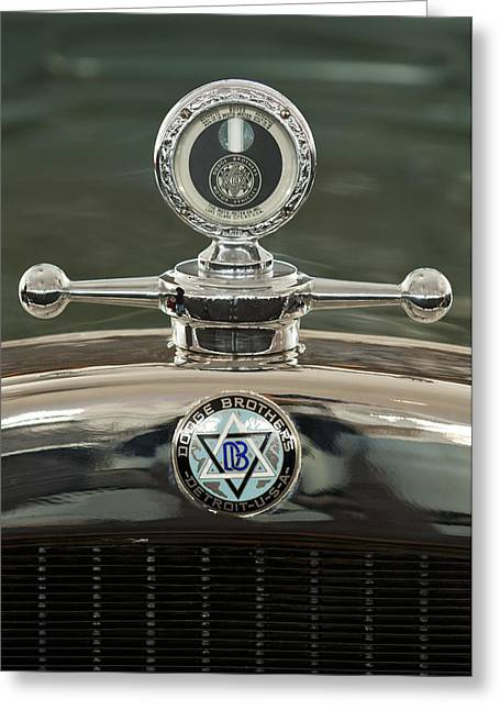 1926 Dodge Woody Wagon Hood Ornament Greeting Card by Jill Reger