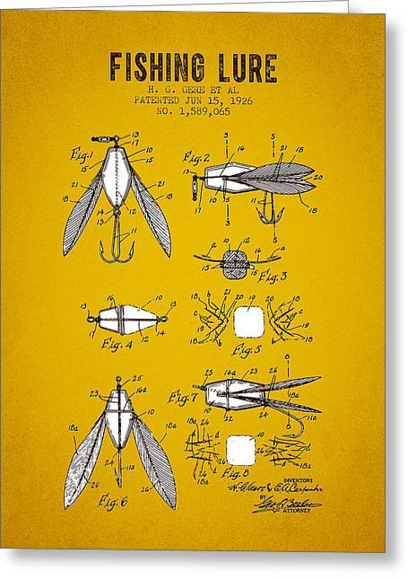 1926 Fishing Lure Patent - Yellow Brown Greeting Card by Aged Pixel