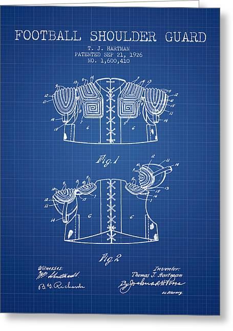 1926 Football Shoulder Guard Patent - Blueprint Greeting Card
