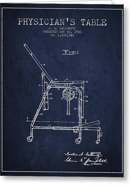 1926 Physicians Table Patent - Navy Blue Greeting Card by Aged Pixel