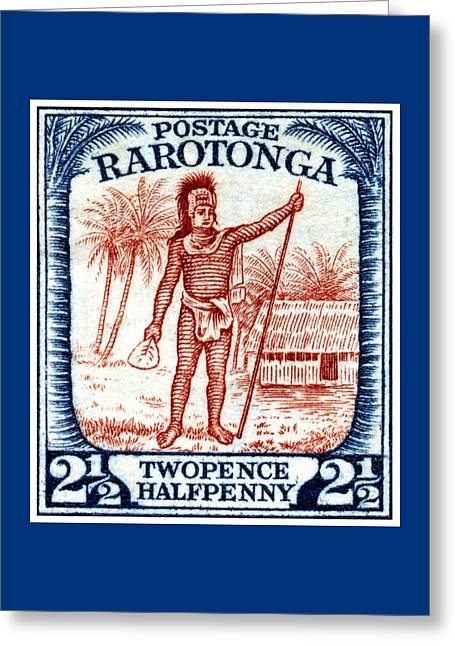 Greeting Card featuring the painting 1927 Cook Island Rarotongan Chief Stamp by Historic Image