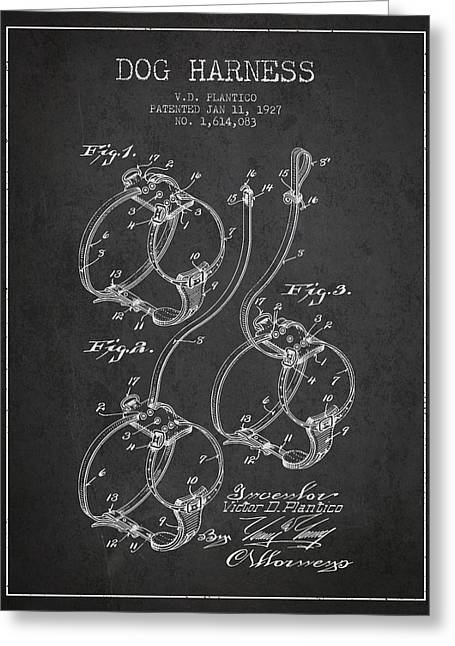 1927 Dog Harness Patent - Charcoal Greeting Card by Aged Pixel