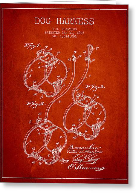 1927 Dog Harness Patent - Red Greeting Card by Aged Pixel
