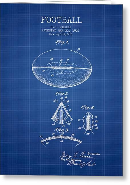 1927 Football Patent - Blueprint Greeting Card