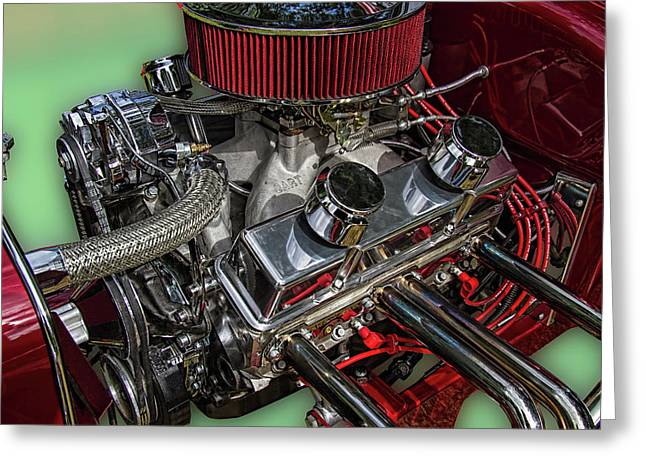 1927 Ford Hot Rod Engine Greeting Card