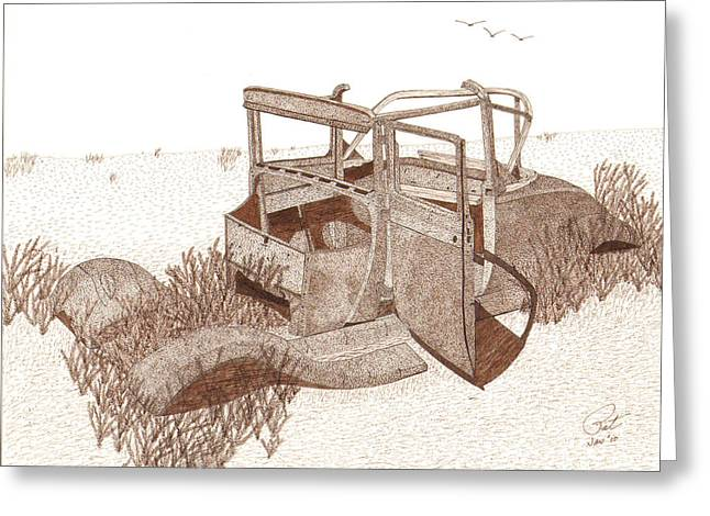 Ford Model T Car Drawings Greeting Cards - 1927 Ford Model T Roadster Greeting Card by Pat Price