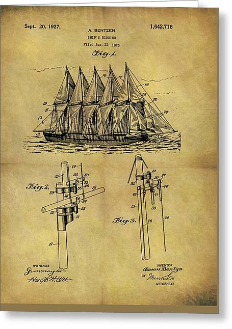 1927 Sail Ship Patent Greeting Card by Dan Sproul