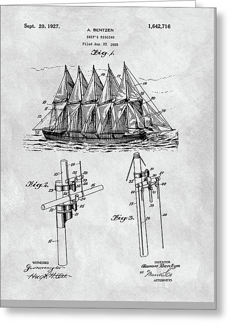 1927 Sailing Ship Patent Charcoal Greeting Card by Dan Sproul