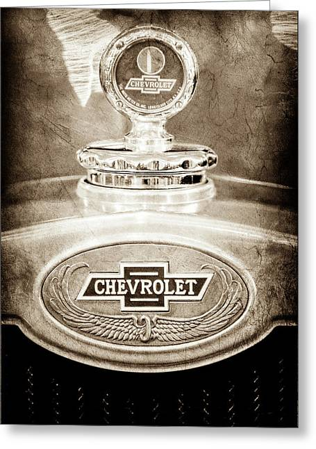 Greeting Card featuring the photograph 1928 Chevrolet 2 Door Coupe Hood Ornament Moto Meter -0789s by Jill Reger