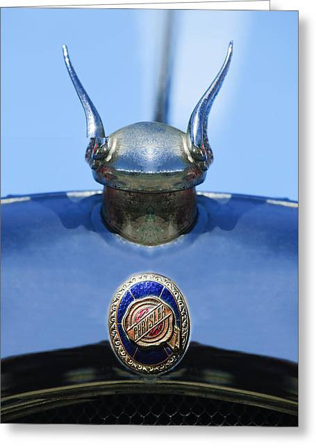 1928 Chrysler Model 72 Deluxe Roadster Hood Ornament - Emblem -0806c Greeting Card