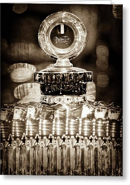 Greeting Card featuring the photograph 1928 Daimler Hood Ornament - Moto Meter -0616s by Jill Reger
