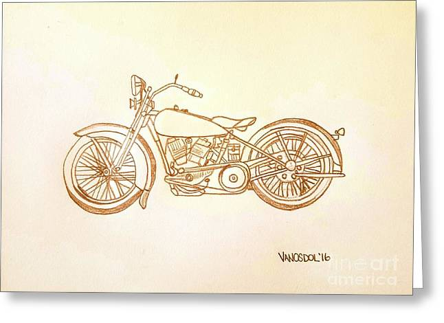 1928 Harley Davidson Motorcycle Graphite Pencil - Sepia Greeting Card