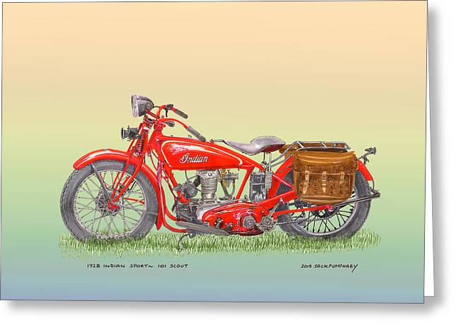 1928 Indian Scout Greeting Card by Jack Pumphrey