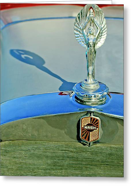 1928 Nash Coupe Hood Ornament 3 Greeting Card