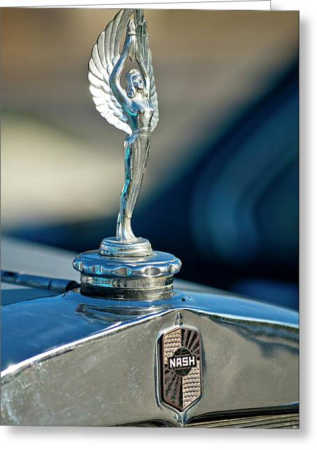 1928 Nash Coupe Hood Ornament Greeting Card by Jill Reger