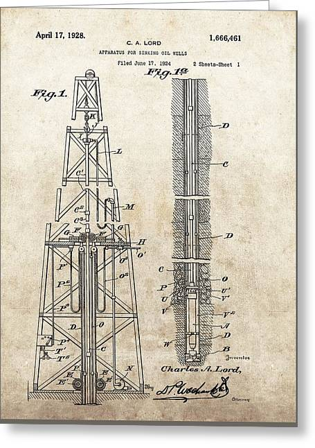 1928 Oil Well Patent Greeting Card by Dan Sproul