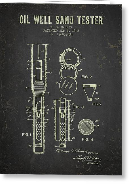 1928 Oil Well Tester Patent - Dark Grunge Greeting Card by Aged Pixel