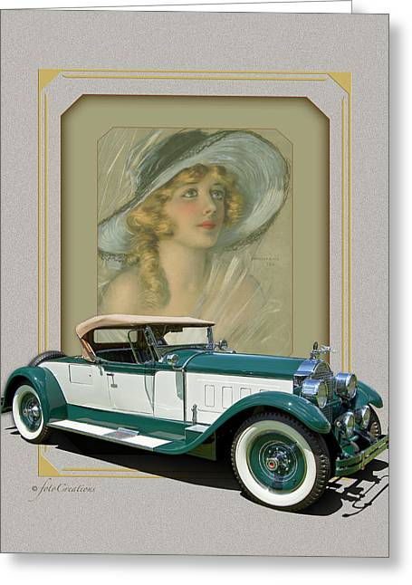 1928 Packard 443 Roadster Convertible Greeting Card by Roger Beltz