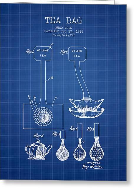 1928 Tea Bag Patent 02 - Blueprint Greeting Card
