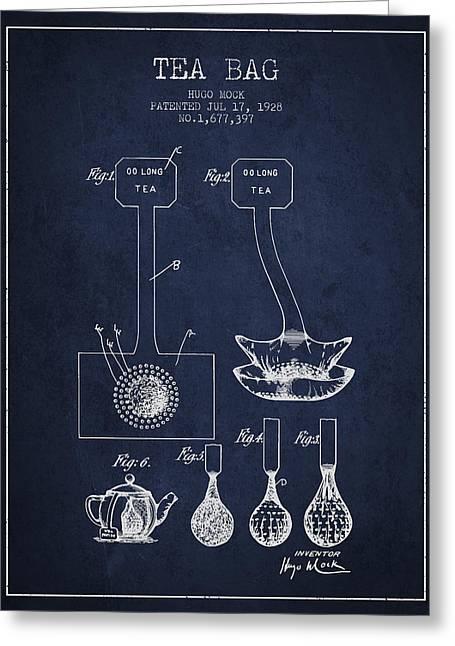 1928 Tea Bag Patent 02 - Navy Blue Greeting Card