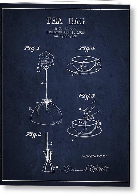 1928 Tea Bag Patent - Navy Blue Greeting Card