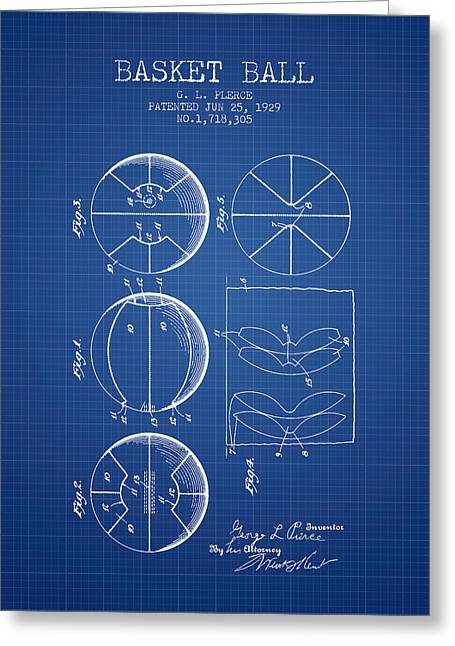 1929 Basket Ball Patent - Blueprint Greeting Card by Aged Pixel